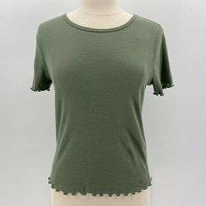 NWT Hollister Green Ribbed Short Sleeve Top Med
